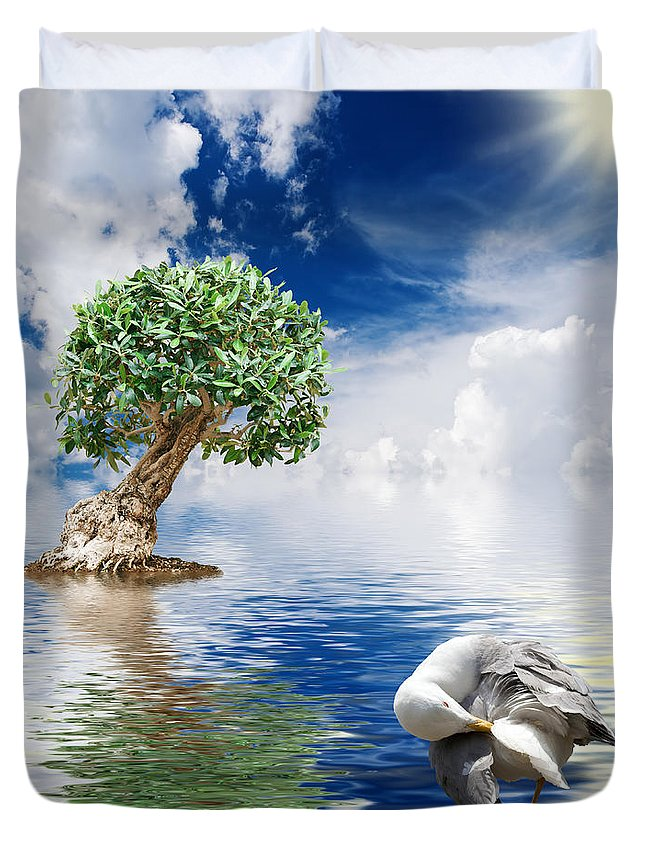Abstract Duvet Cover featuring the photograph Tree Seagull And Sea by Antonio Scarpi