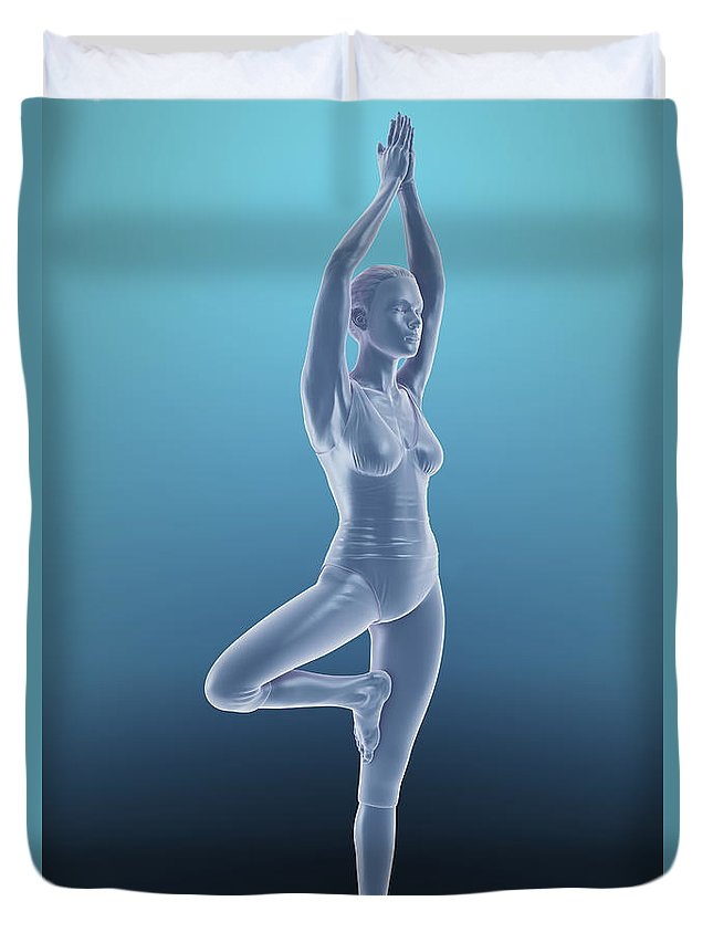 Agility Duvet Cover featuring the photograph Tree Yoga Pose by Science Picture Co