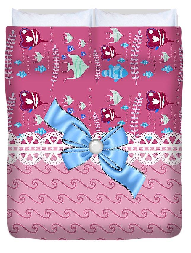 Fish Duvet Cover featuring the digital art Cute Tropical Fish by DMiller