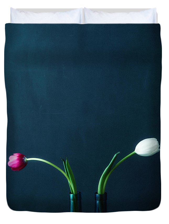 Mother's Day Duvet Cover featuring the photograph Tulip Still Life For Mothers Day by Catlane