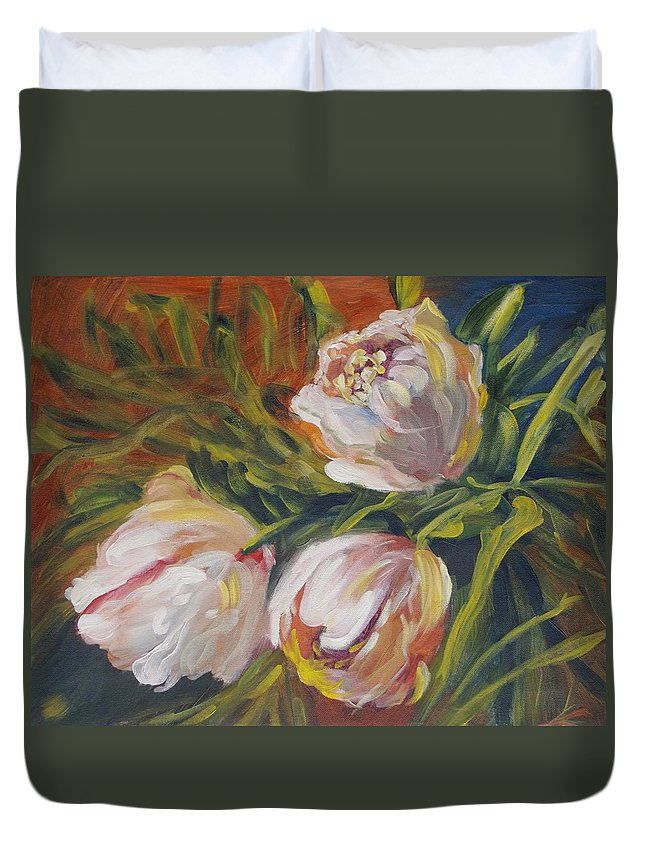 Tulips Duvet Cover featuring the painting Tulips by Elena Sokolova