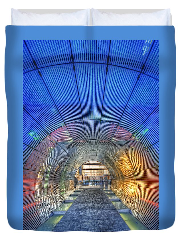 Blue Duvet Cover featuring the digital art Tunnel by Nathan Wright