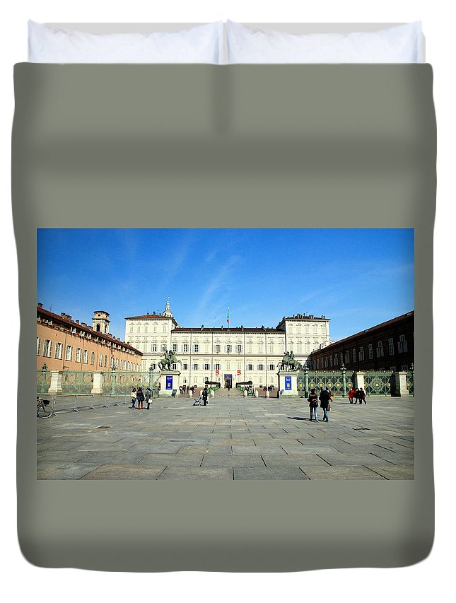 Italy Duvet Cover featuring the photograph Turin Palazzo Reale by Valentino Visentini