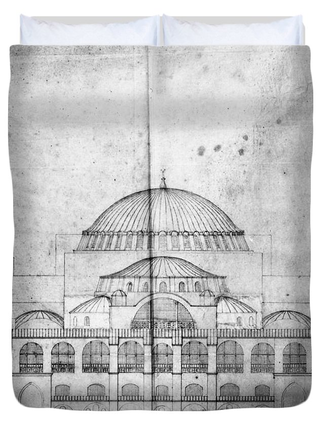 1830s Duvet Cover featuring the photograph Turkey: Hagia Sophia, 1830s by Granger
