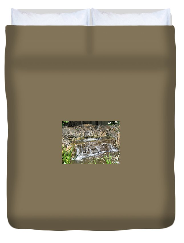 Scene Duvet Cover featuring the photograph Turtle Head Falls by Jamie Smith