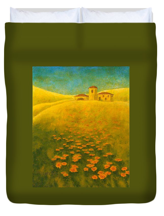 Allegretto Art Duvet Cover featuring the painting Tuscan Gold 2 by Pamela Allegretto