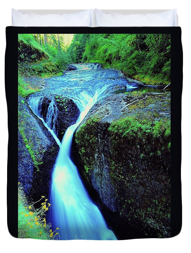 Water. Running Water Duvet Cover featuring the photograph Twister Falls by Jeff Swan