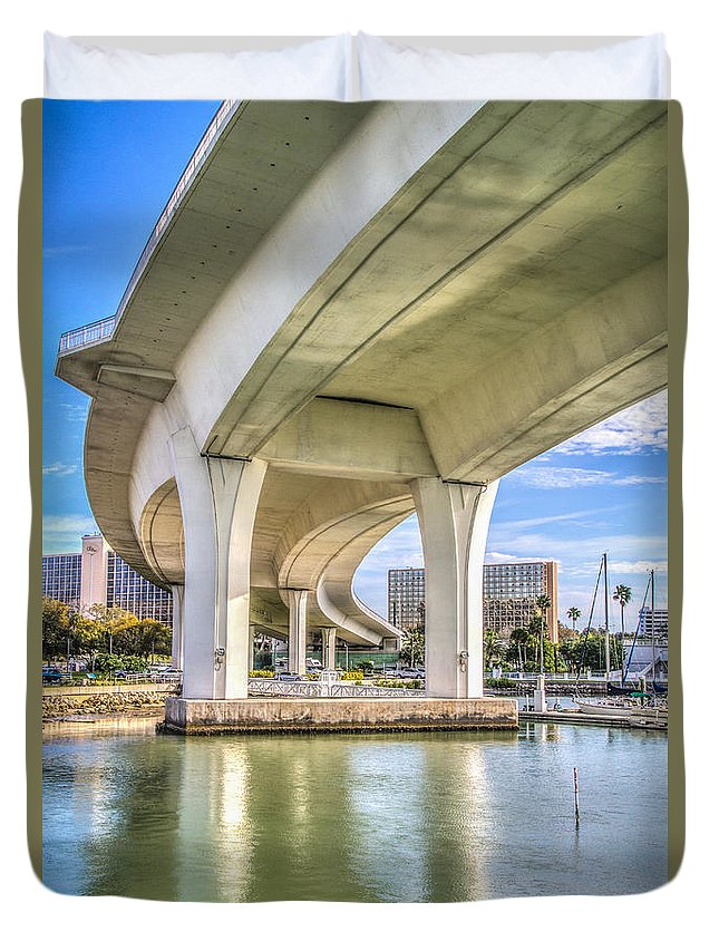 Clearwater Duvet Cover featuring the photograph Under The Bridge by Jane Luxton
