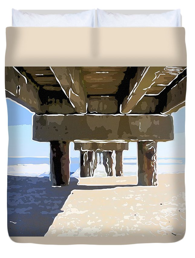 Pier Duvet Cover featuring the photograph Under The Pier by Alice Gipson