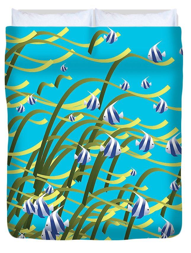 Fish Duvet Cover featuring the digital art Underwater Life by Gaspar Avila