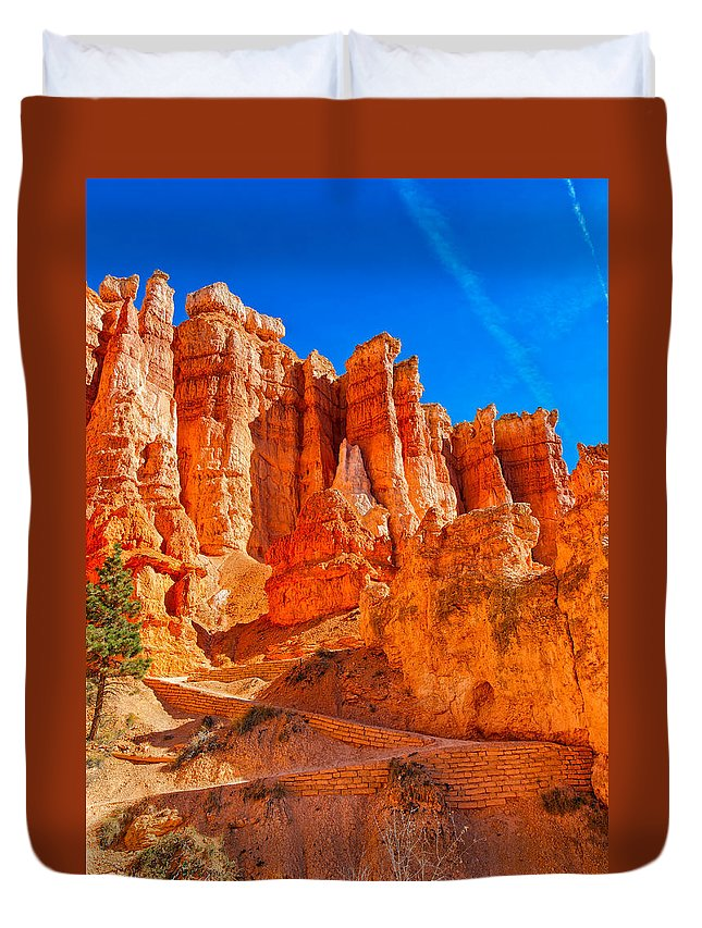 Landscape Duvet Cover featuring the photograph Upwards by John M Bailey