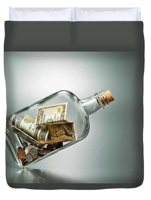 Coin Duvet Cover featuring the photograph Us Dollar Banknotes In A Bottle by Yuji Sakai