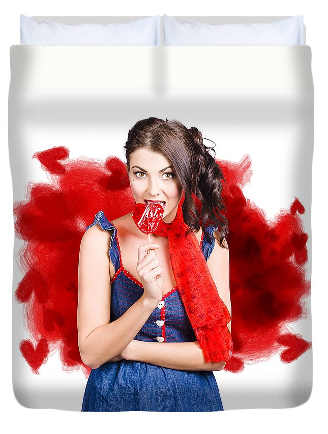 Love Duvet Cover featuring the photograph Valentines Day Woman Eating Heart Candy by Jorgo Photography - Wall Art Gallery