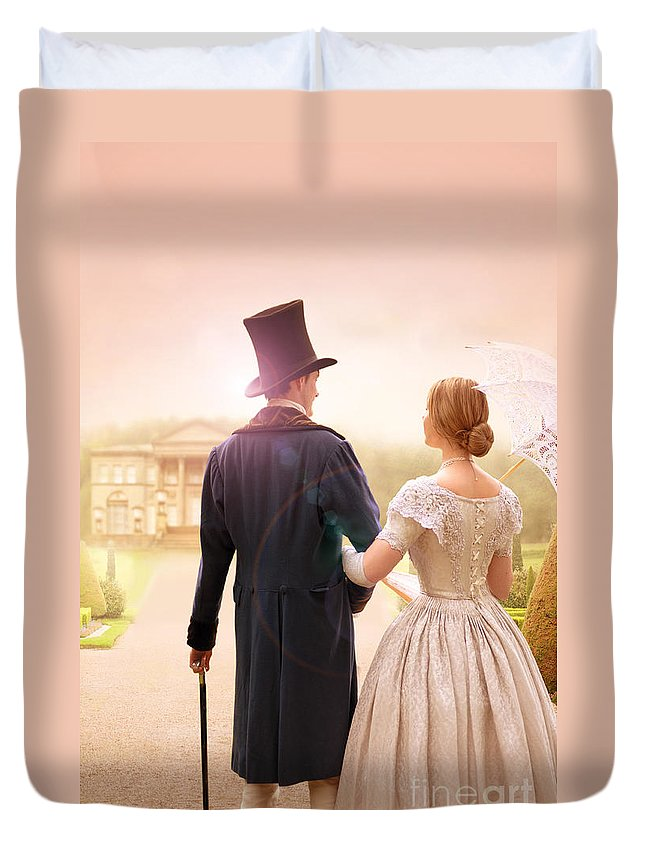 Victorian Duvet Cover featuring the photograph Victorian Couple Walking Towards A Country Estate by Lee Avison