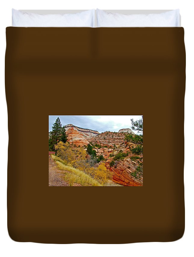 View Along East Side Of Zion-mount Carmel Highway In Zion National Park Duvet Cover featuring the photograph View Along East Side Of Zion-mount Carmel Highway In Zion National Park-utah  by Ruth Hager