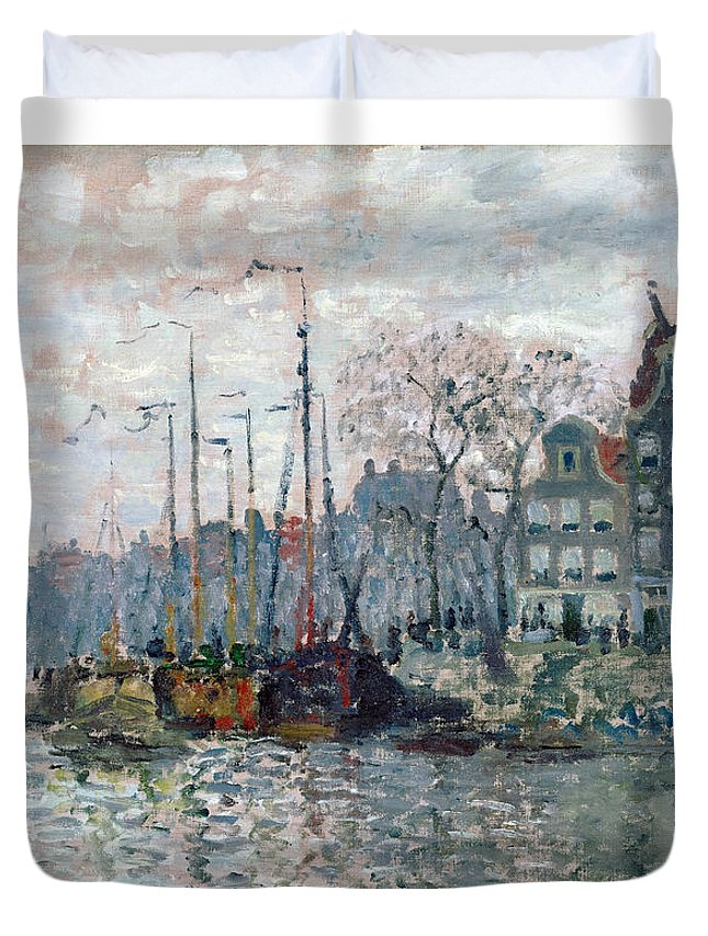 Claude Duvet Cover featuring the painting View Of The Prins Hendrikkade And The Kromme Waal In Amsterdam by Claude Monet