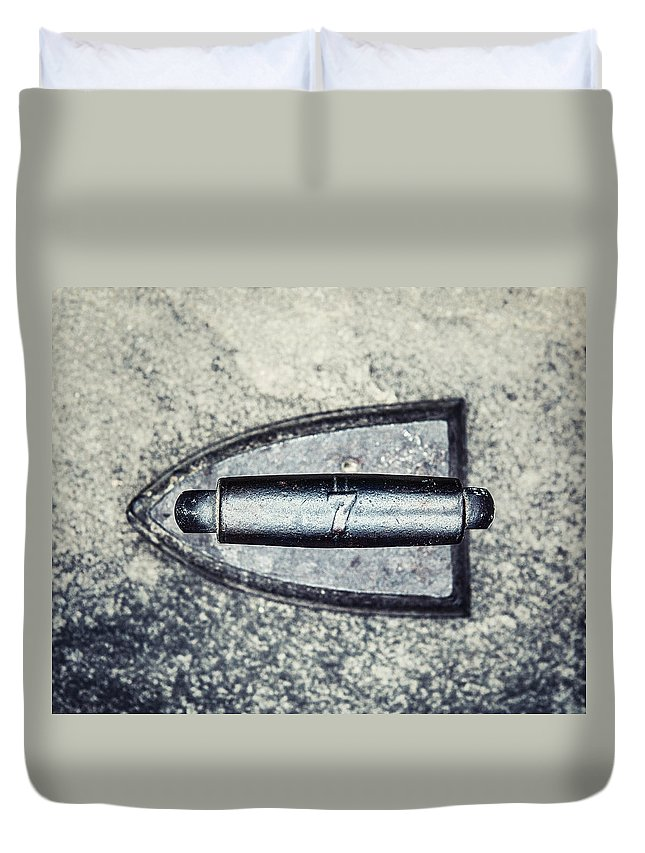 Iron Duvet Cover featuring the photograph Vintage Iron With Number 7 by Lisa Russo