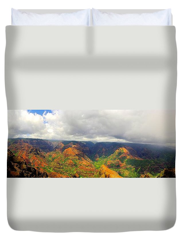 Waimea Duvet Cover featuring the photograph Waimea Canyon by John Greaves