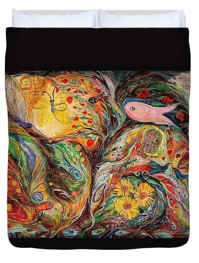 Judaica Naive Spiritual Art Duvet Cover featuring the painting Waiting For A Miracle by Elena Kotliarker