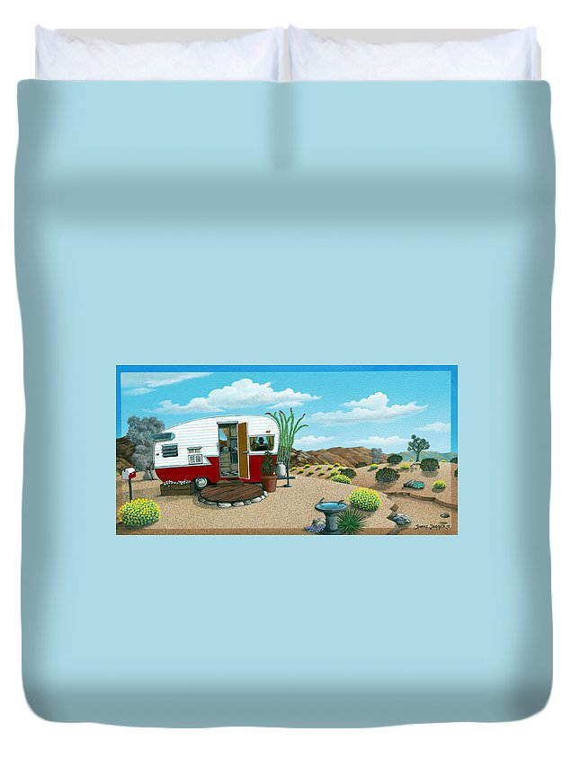 Trailer Duvet Cover featuring the painting Waiting on a Friend by Snake Jagger