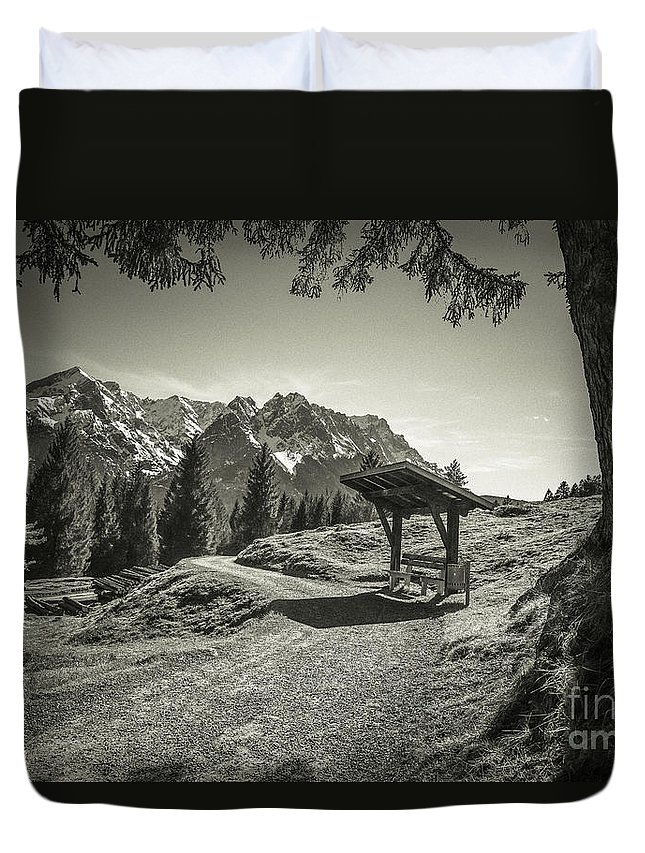 Alpspitze Duvet Cover featuring the photograph walking in the Alps - bw by Hannes Cmarits