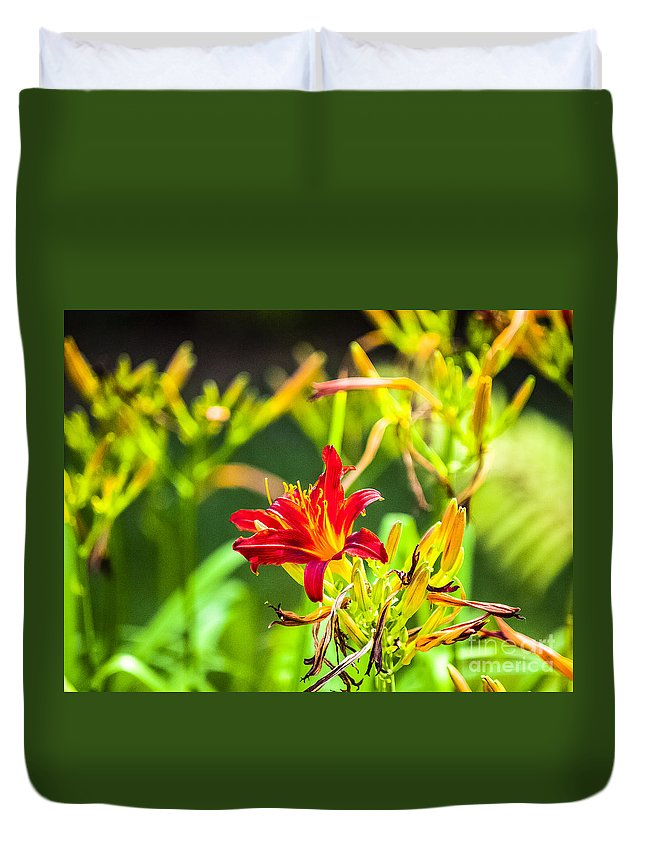 Lilly Duvet Cover featuring the photograph Wascana-84 by David Fabian
