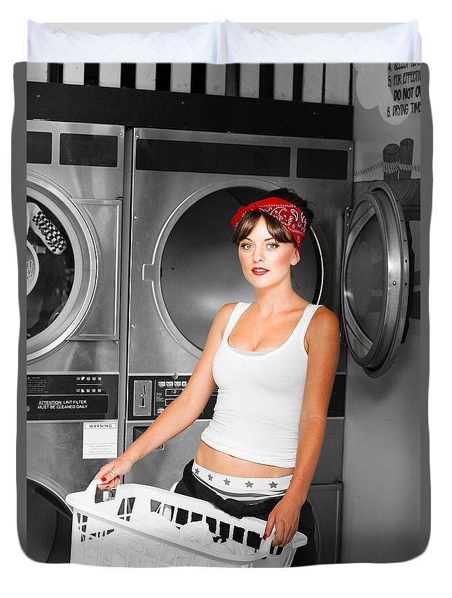 Attractive Duvet Cover featuring the photograph Washing Clothes At Laundry by Jorgo Photography - Wall Art Gallery