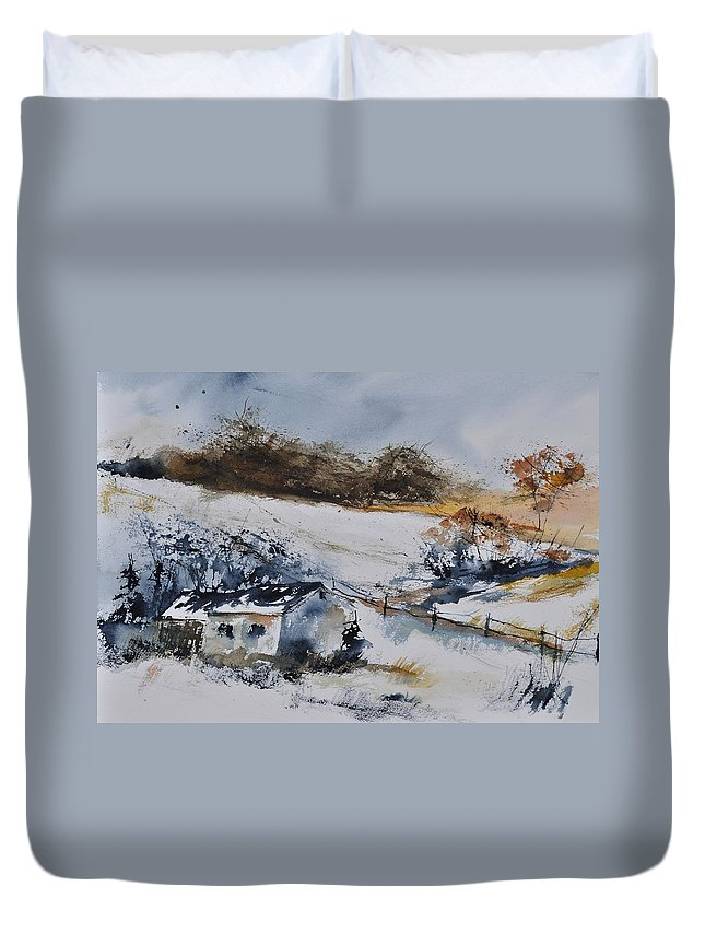 Landscape Duvet Cover featuring the painting Watercolor 4541902 by Pol Ledent
