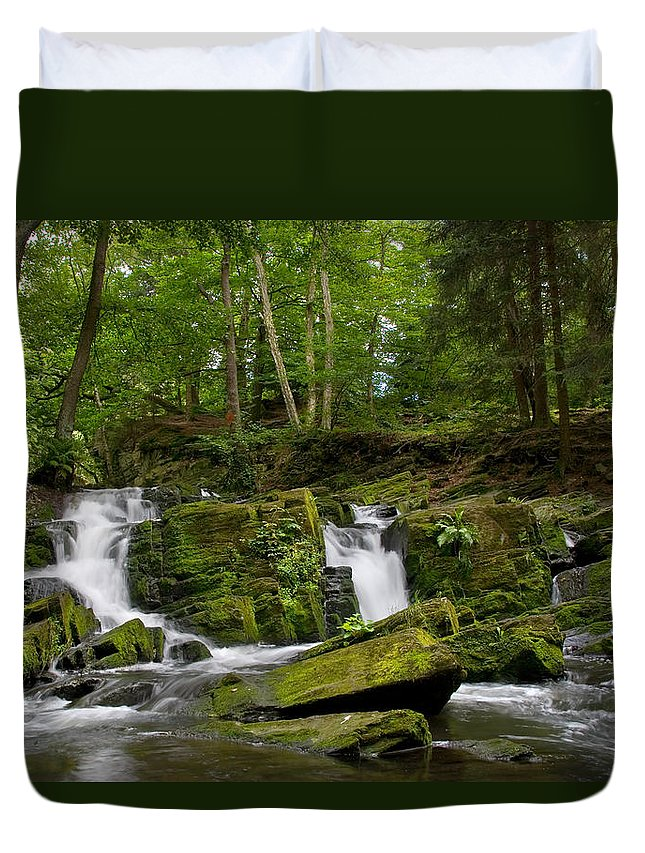 Hdr Duvet Cover featuring the pyrography Waterfall by Steffen Gierok