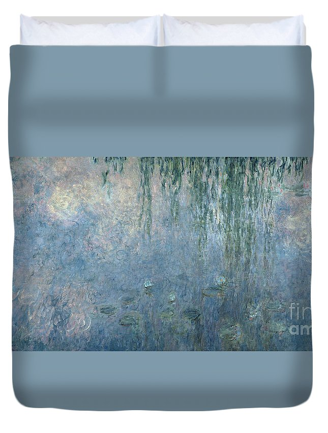 Impressionist Duvet Cover featuring the painting Waterlilies Morning With Weeping Willows by Claude Monet