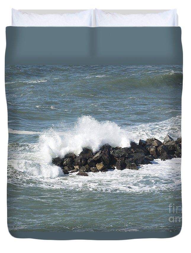 Wave Duvet Cover featuring the photograph Wave On The Rocks by Mats Silvan