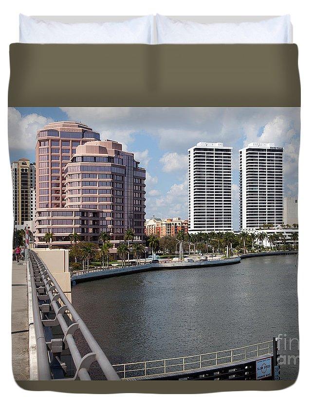Florida Duvet Cover featuring the photograph West Palm Beach Skyline by Bill Cobb