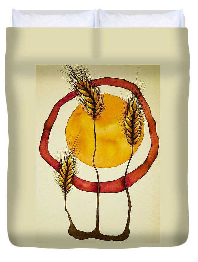 Sun Duvet Cover featuring the mixed media Wheat And Sun by Daniel P Cronin