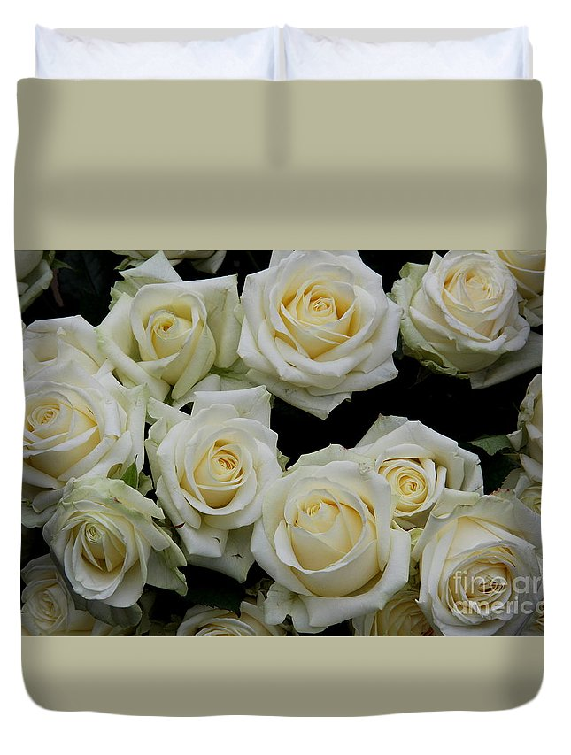 White Roses Duvet Cover featuring the photograph White Roses by Christiane Schulze Art And Photography
