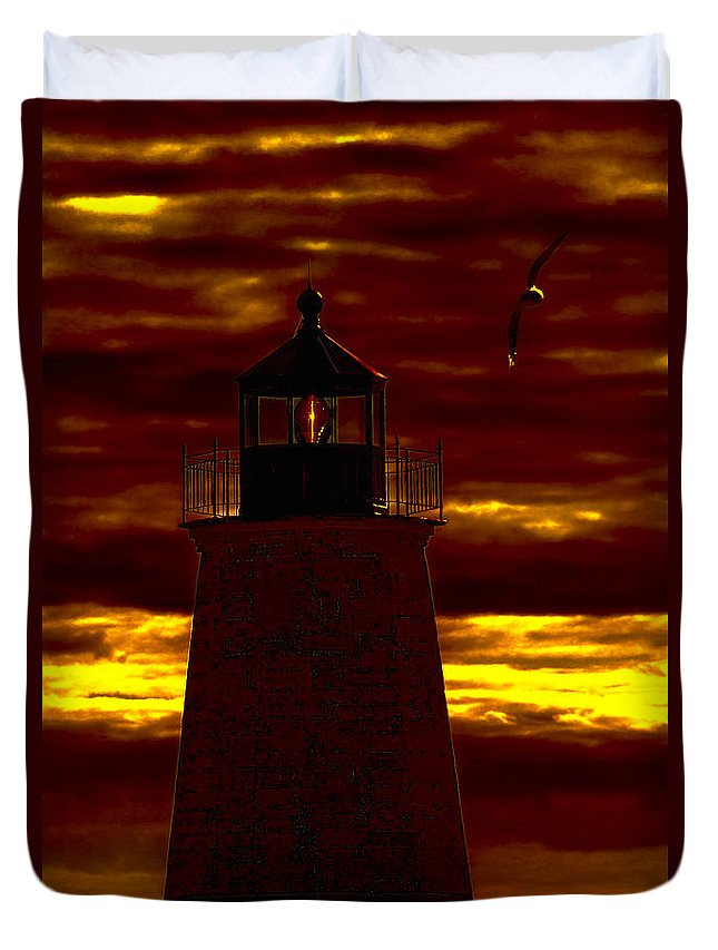 Lighthouse Duvet Cover featuring the photograph Wicked Sky by Joe Geraci