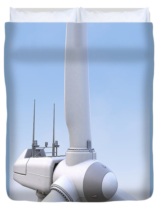 Green Energy Duvet Cover featuring the photograph Wind Turbine by Science Picture Co