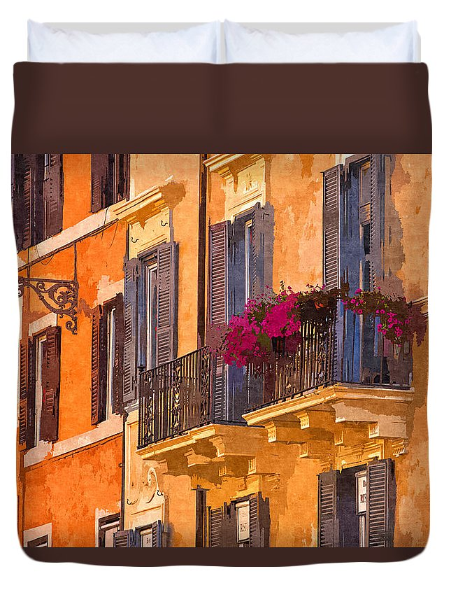 Rome Duvet Cover featuring the photograph Window Boxes by David Pringle