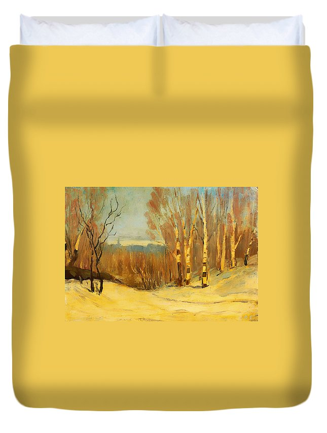 Painting Duvet Cover featuring the painting Winter Near Montreal by Mountain Dreams
