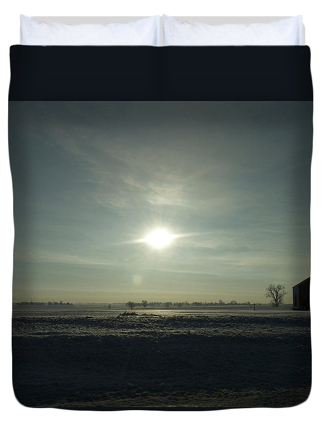 Sunrise Duvet Cover featuring the photograph Winter Sunrise 2014 03 by Thomas Woolworth