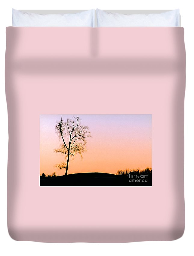 Winter Duvet Cover featuring the photograph Winter Sunset Tree by Mike Nellums