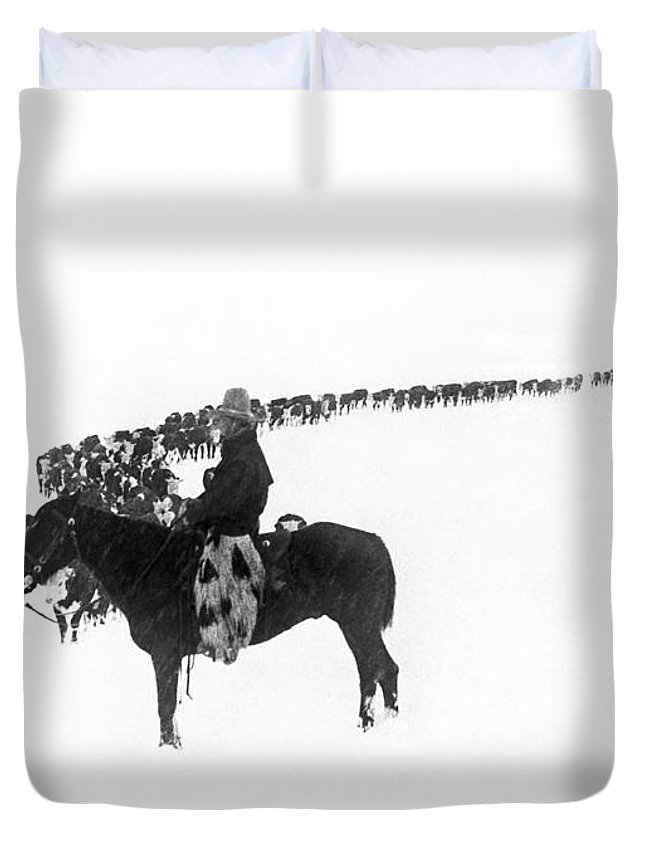 1920s Duvet Cover featuring the photograph Wintertime Cattle Drive by Underwood Archives Charles Belden