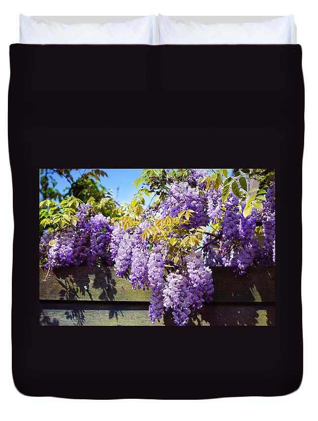 Wisteria Duvet Cover featuring the photograph Wisteria Garden 8 by Jenny Rainbow