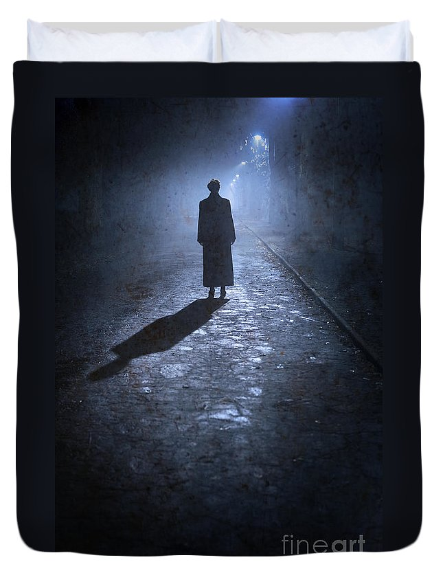 Woman Duvet Cover featuring the photograph Woman Alone Outside In Fog At Night by Lee Avison
