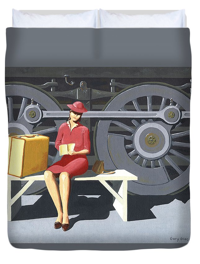 Woman Duvet Cover featuring the painting Woman With Locomotive by Gary Giacomelli