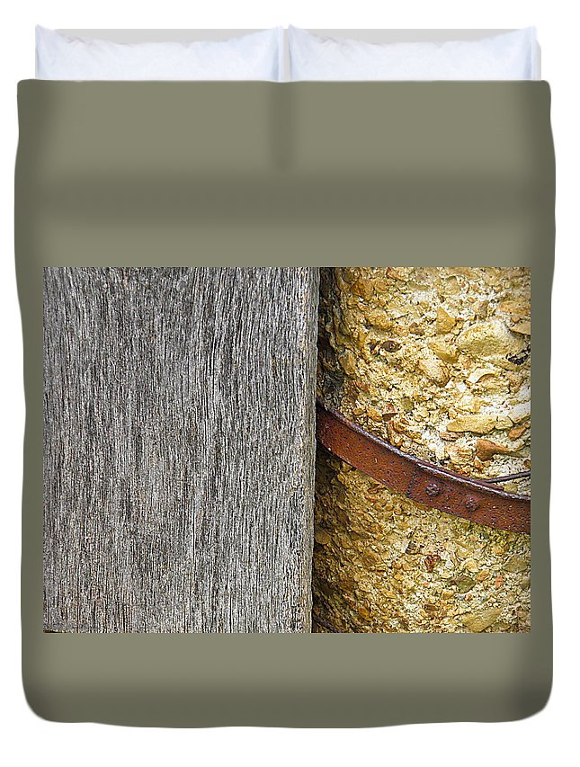 Wood Duvet Cover featuring the photograph Wood Concrete And Steel In Color by Nick Kirby