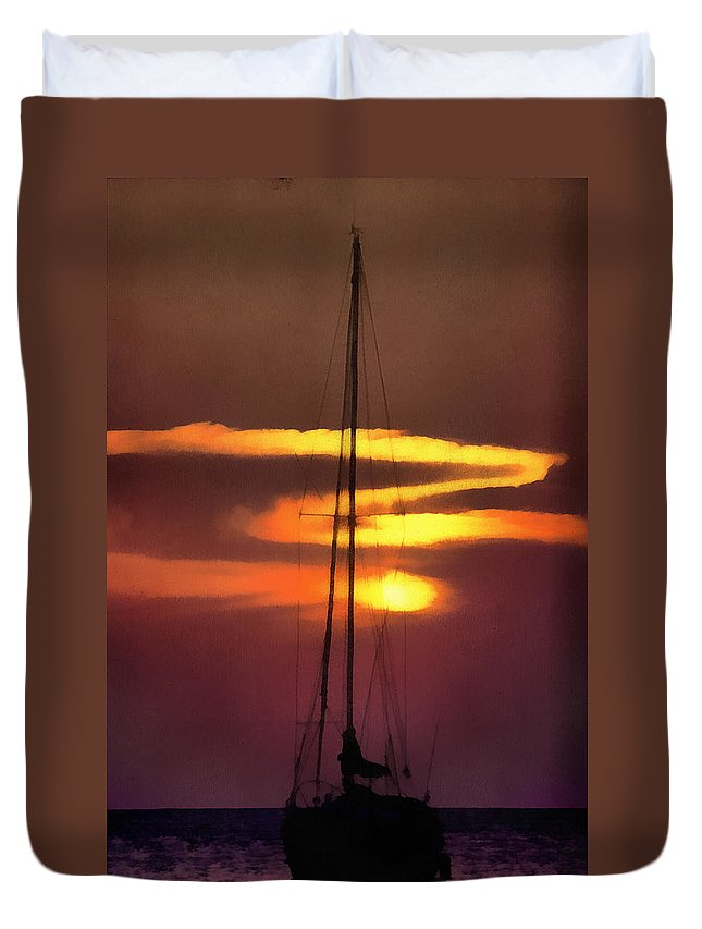 Adventure Duvet Cover featuring the digital art Yacht At Sunset by Roy Pedersen