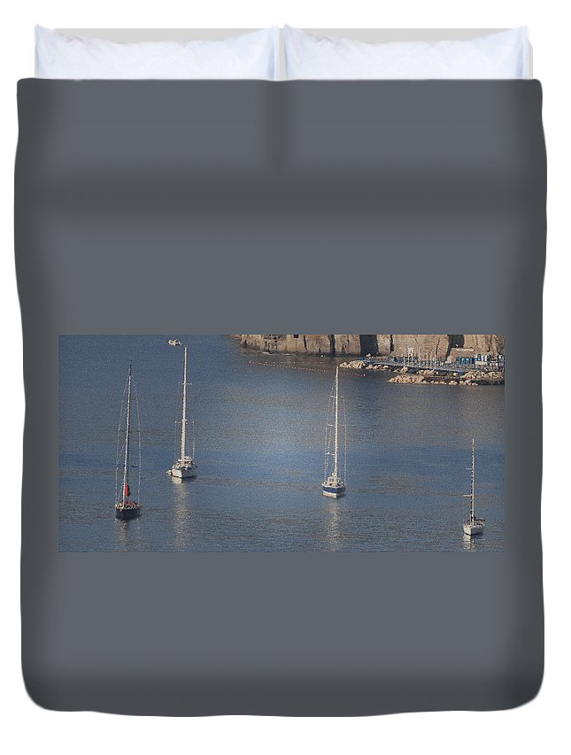 Irish Photography Duvet Cover featuring the photograph Abstract Yachts At Rest Sorrento by Dave Byrne
