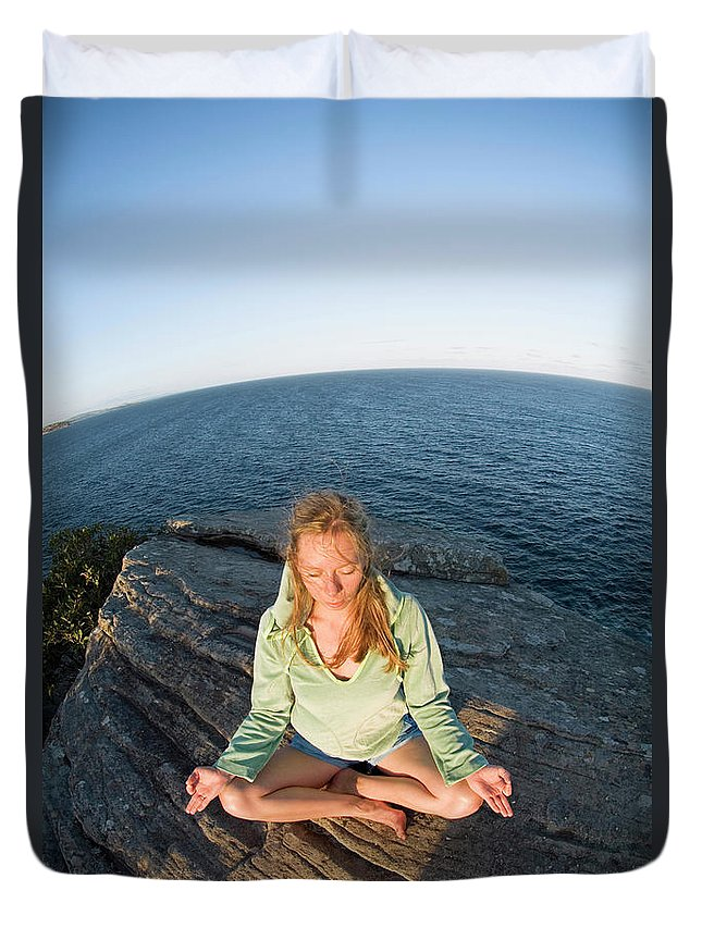 Australia Duvet Cover featuring the photograph Yoga On Rocky Outcrop Above Ocean by Lars Schneider