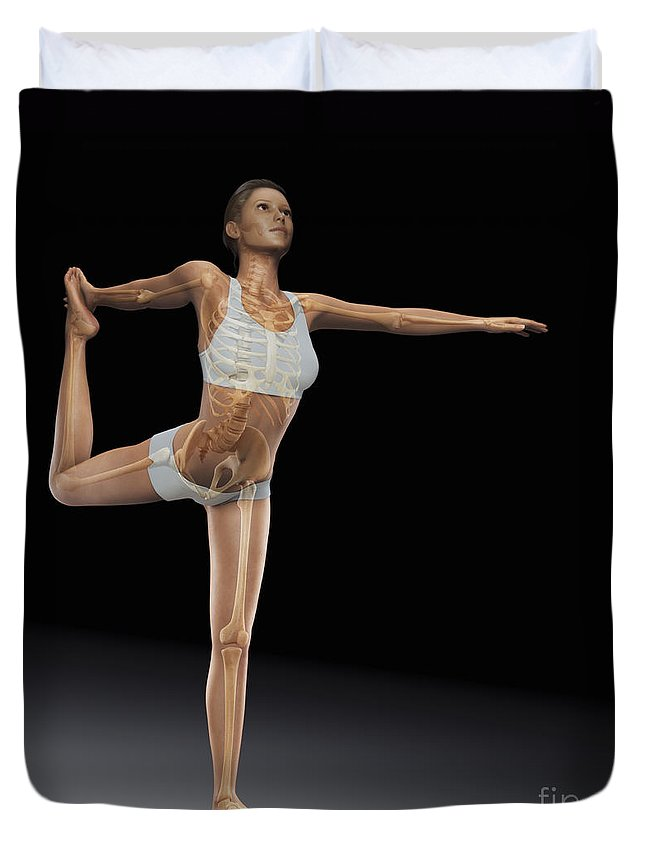 Digitally Generated Image Duvet Cover featuring the photograph Yoga The Dancers Pose by Science Picture Co
