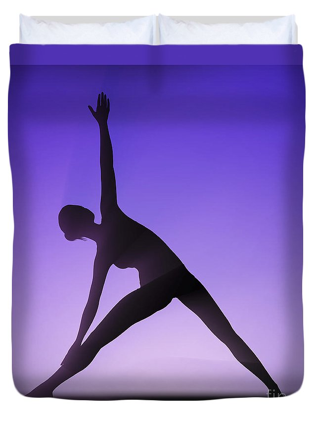 Flexibility Duvet Cover featuring the photograph Yoga Triangle Pose by Science Picture Co